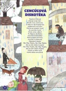 Cencúľová diskotéka, Adamko, február 2017, str. 2; ilustrácie Alena Wagnerová